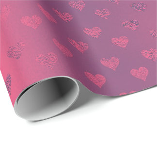 Raspberry Pink Red Metallic  Hearts  Bridal Shower Wrapping Paper