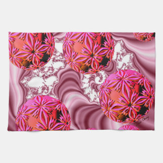 Raspberry Pink Vision, Abstract Snow Flakes Hand Towels