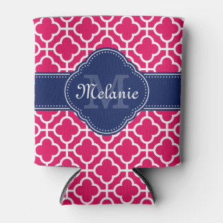 Raspberry Pink Wht Moroccan Pattern Navy Monogram Can Cooler