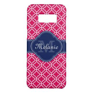 Raspberry Pink Wht Moroccan Pattern Navy Monogram Case-Mate Samsung Galaxy S8 Case