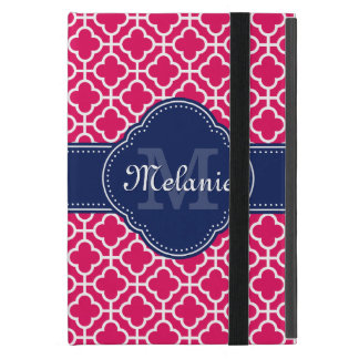 Raspberry Pink Wht Moroccan Pattern Navy Monogram Cover For iPad Mini