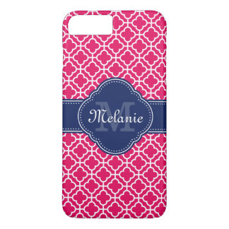 Raspberry Pink Wht Moroccan Pattern Navy Monogram iPhone 8 Plus/7 Plus Case