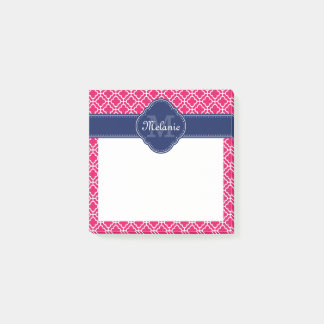 Raspberry Pink Wht Moroccan Pattern Navy Monogram Post-it Notes