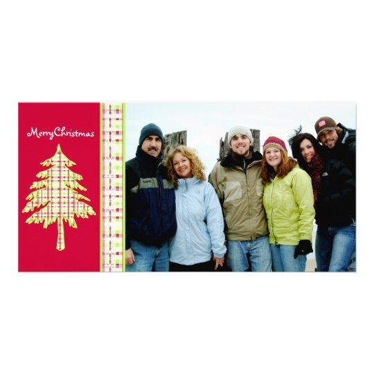 Raspberry Plaid Tree & Snowflake Merry Christmas Photo Card Template