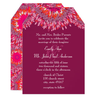 Raspberry Plum Coral Pink Floral Wedding Card