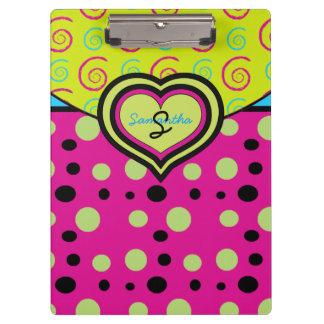 Raspberry Polka Dots and Swirls Custom Clipboard