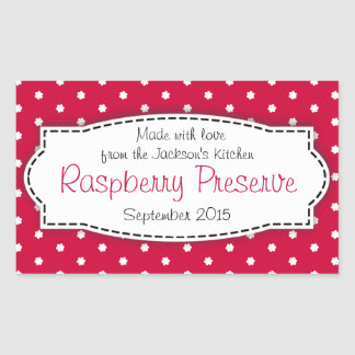 Raspberry preserve or jam jar food label sticker