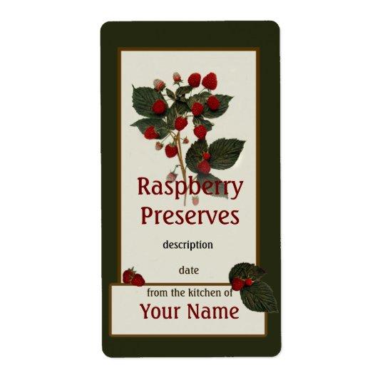 Raspberry Preserves Canning Label