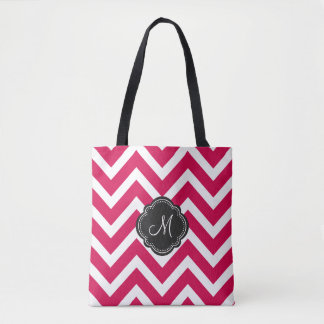 Raspberry Red Chevron Stripes with Monogram Tote Bag