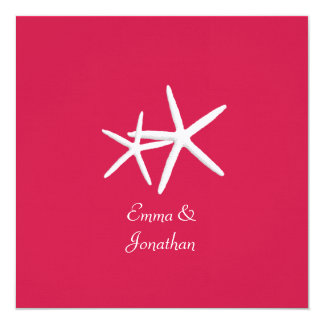 Raspberry Red Starfish Square Wedding Invitation