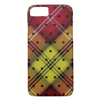 Raspberry Red Yellow Orange Pin Dot Tartan Plaid iPhone 8/7 Case