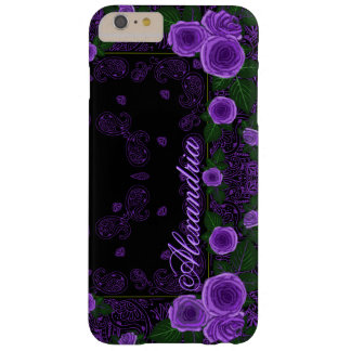 Raspberry Roses & Paisley Bandana Name Template Barely There iPhone 6 Plus Case