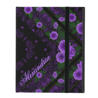 Raspberry Roses & Paisley Bandana Name Template iPad Cover
