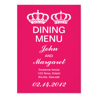 Raspberry Royal Couple Dining Menu Card