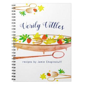 Raspberry salad bowl utensils recipe notebook