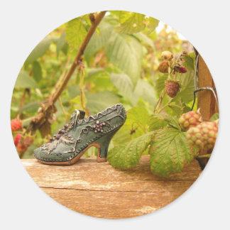 Raspberry Shoe Round Sticker