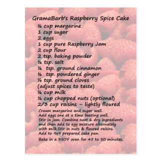 Raspberry Spice Cake Recipe Postcard