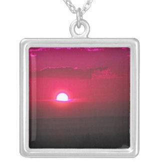 Raspberry Sunset Square Pendant Necklace