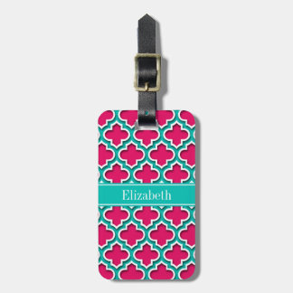 Raspberry, Teal Moroccan #5DS Teal Name Monogram Luggage Tag