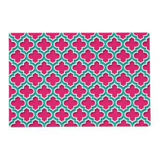 Raspberry Teal White Moroccan Quatrefoil #5DS Laminated Placemat