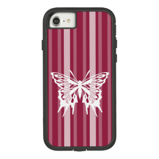 Raspberry Victorian Stripe with Butterfly Case-Mate Tough Extreme iPhone 8/7 Case