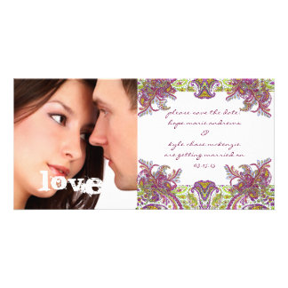 Raspberry Vintage Floral Save The Date Photo Customized Photo Card