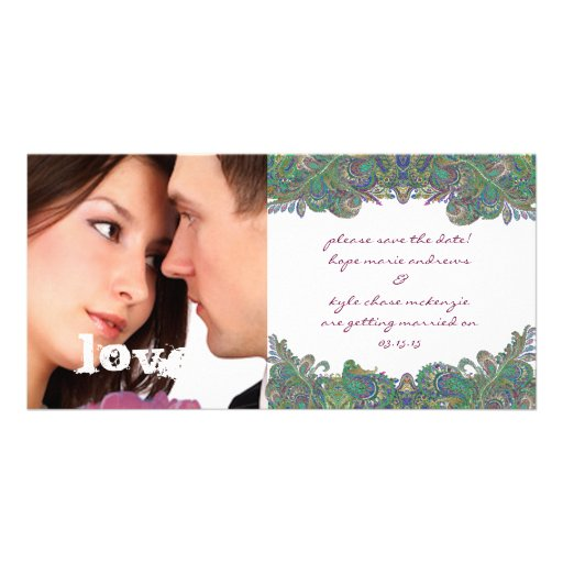 Raspberry Vintage Floral Save The Date Photo Personalized Photo Card