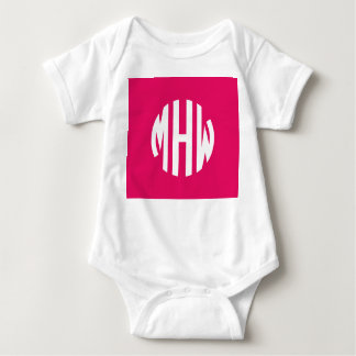 Raspberry White 3 Initials in a Circle Monogram T-shirts