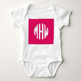 Raspberry White 3 Initials in a Circle Monogram Tee Shirt