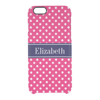 Raspberry White Polka Dots Navy Blue Name Monogram Clear iPhone 6/6S Case