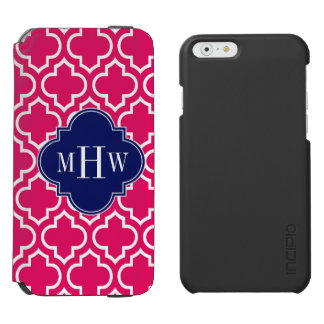 Raspberry Wht Moroccan #6 Navy 3 Initial Monogram Incipio Watson™ iPhone 6 Wallet Case