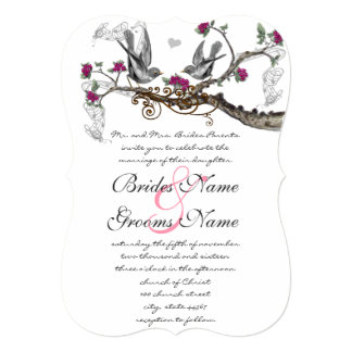 Raspberry Wine Vintage Birds Wedding Card