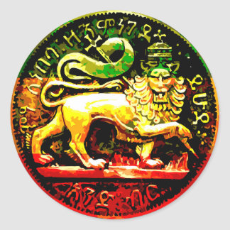 Rasta Ancient Lion of Judah Red Gold Green Black Classic Round Sticker