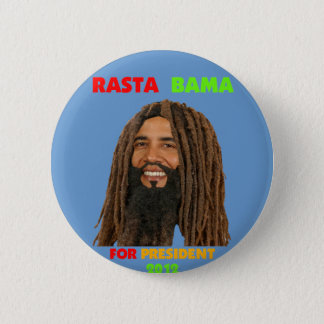 Rasta Bama, President Obama in Dreadlocks 6 Cm Round Badge