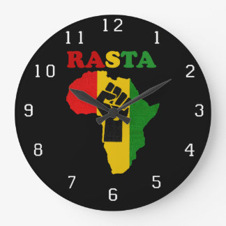 Rasta Black Power Fist over Africa Wall Clock