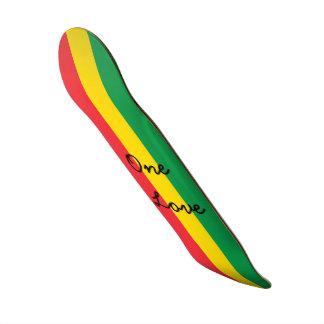 Rasta Color Green Yellow Red Flag Stripes One Love Custom Skateboard