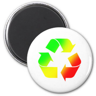 Rasta Colored Recycle Sign 6 Cm Round Magnet