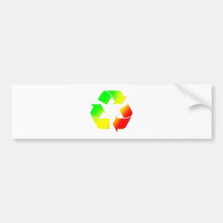 Rasta Colored Recycle Sign Bumper Sticker