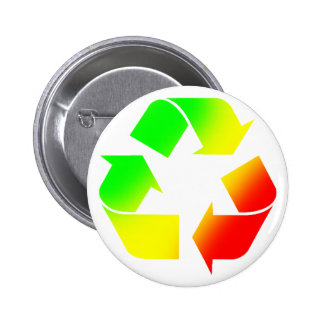 Rasta Colored Recycle Sign Pinback Button