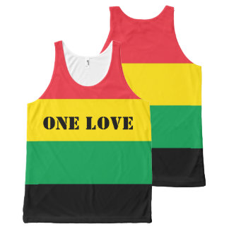 Rasta Colors Green Yellow Red Stripes Flag Pattern All-Over Print Singlet