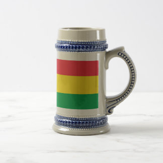 Rasta Colors Green Yellow Red Stripes Flag Pattern Beer Stein