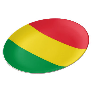 Rasta Colors Green Yellow Red Stripes Flag Pattern Plate