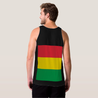 Rasta Colors Green Yellow Red Stripes Flag Pattern Singlet