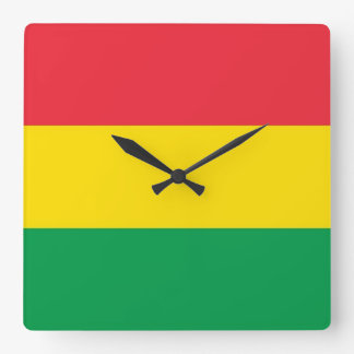 Rasta Colors Green Yellow Red Stripes Flag Pattern Square Wall Clock