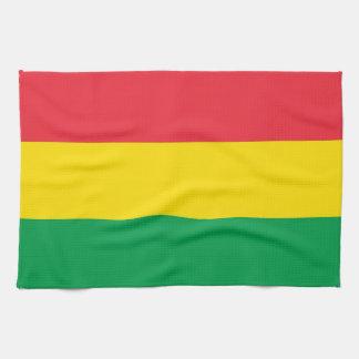 Rasta Colors Green Yellow Red Stripes Flag Pattern Tea Towel