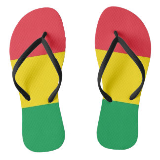 Rasta Colors Green Yellow Red Stripes Flag Pattern Thongs