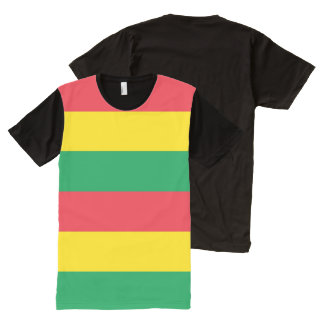 Rasta Colors Green Yellow Red Stripes Pattern All-Over Print T-Shirt