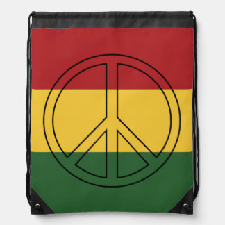 Rasta Colors Peace Drawstring Bag