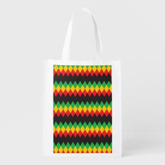 Rasta Diamond Pattern Reusable Grocery Bag