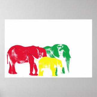 Rasta Elephant Poster